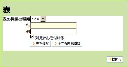 [表の作成]パネル