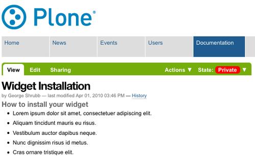 Widget Installationページが表示される